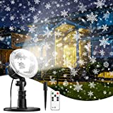 Christmas Projector Lights Snowflake New Year Projection, IP65 Waterproof for Garden House Outdoor Indoor Snowfall Snow LED Decoration for Xmas, Valentine's Day, Wedding, Parties