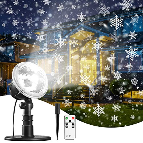 Christmas Projector Lights Snowflake New Year Projection, IP65 Waterproof for Garden House Outdoor Indoor Snowfall Snow LED Decoration for Xmas, Valentine's Day, Wedding, Parties (Snowing On Christmas Day)