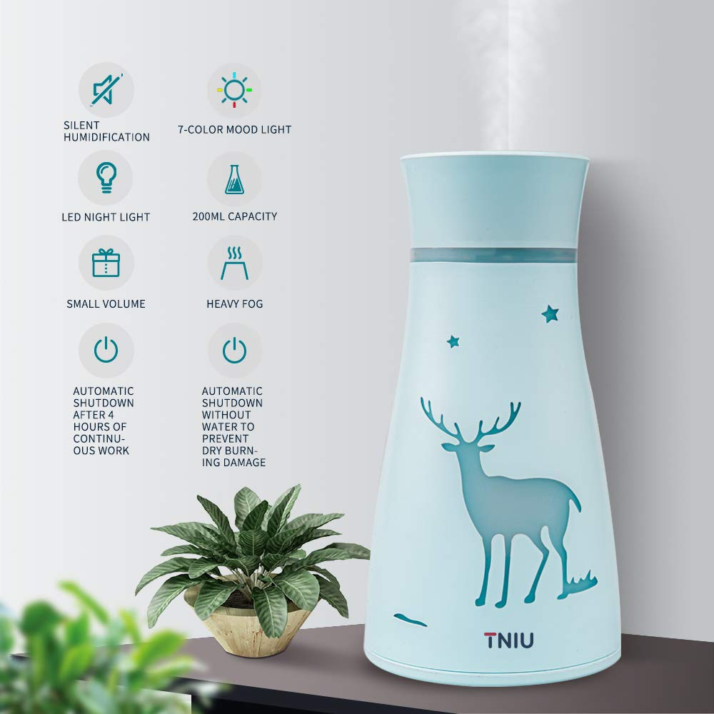 200ml Mini Air Humidifier 360° Rotation 7 Color Atmosphere Lights  Living Room B