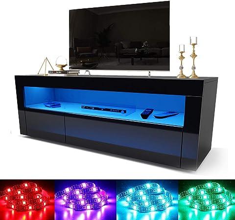 Mueble de TV elegante y moderno de alto brillo con luz LED para televisores de 22