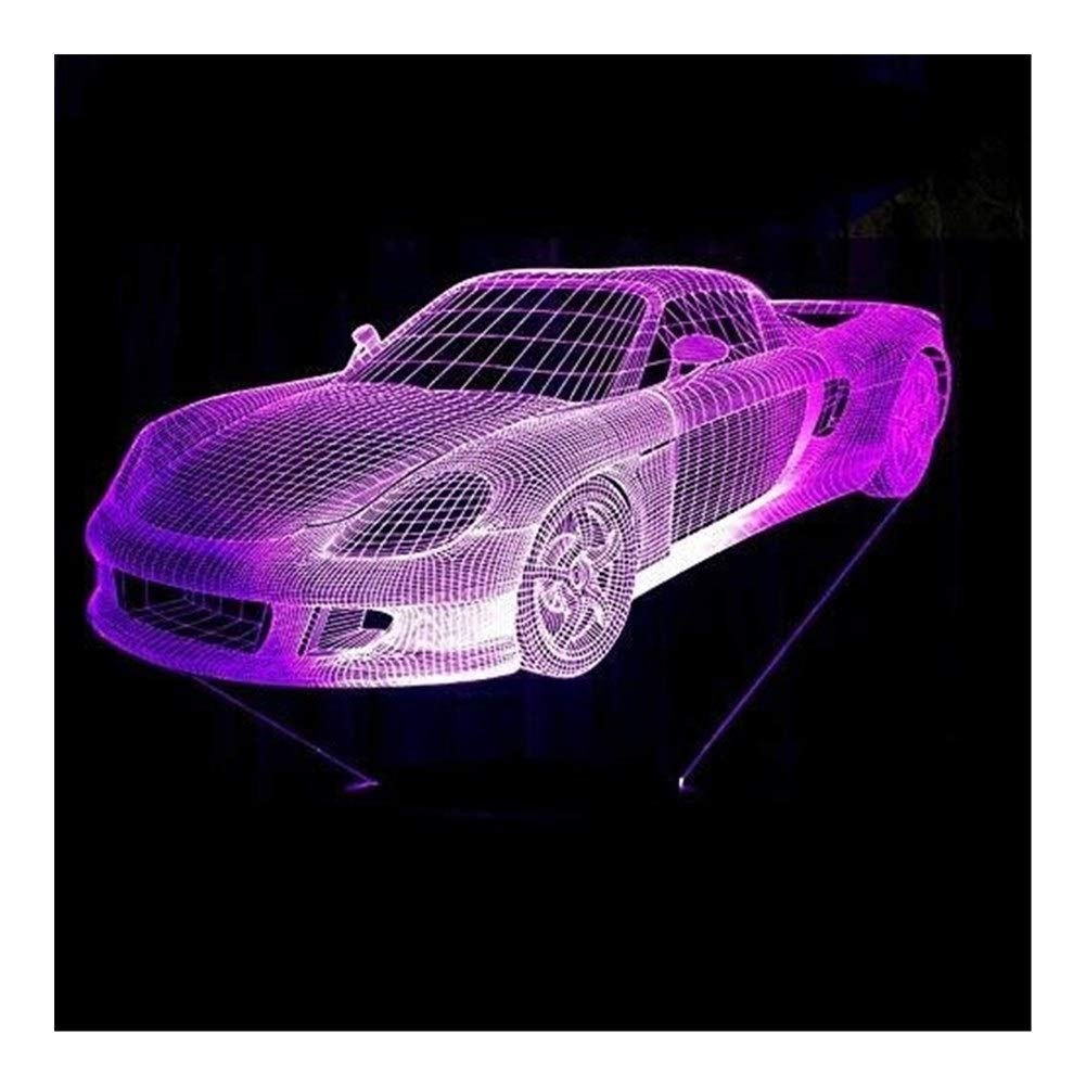 JINXUXIONGDI Visual Stereo Vision 3D Night Light Music Sports Car Racing Bike with Led7 Color Lights Home Decoration Lights Amazing Visualization Children's Decoration