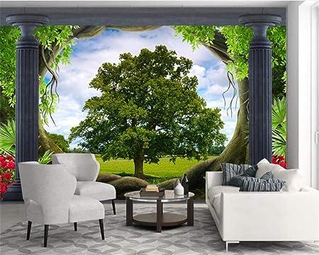 Papel pintado para paredes Papel pintado personalizado de pintura decorativa en 3D Roma columna bosque pradera paisaje pared de fondo 3d 200×150cm: Amazon.es: Bricolaje y herramientas