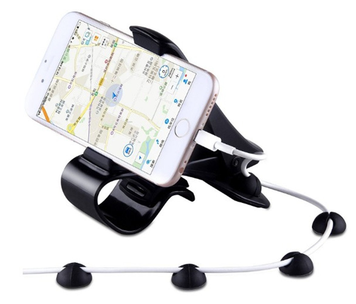 Car Mount Mobile Phone Holder - Universal Dashboard HUD Mount Cradle for iPhone 7/7 Plus/6S/6 Plus 5S SE, Samsung Galaxy S7/S6 edge/S6 Cell Phones, GPS and Other Smartphones(4 Free Cable Clips) GPS and Other Smartphones( 4 Free Cable Clips)