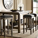 Renate Grey Upholstered 30 inch Tall Bar Height Backless Stools (Set of 2)