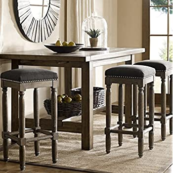 Amazon Com Renate Grey Upholstered 30 Inch Tall Bar