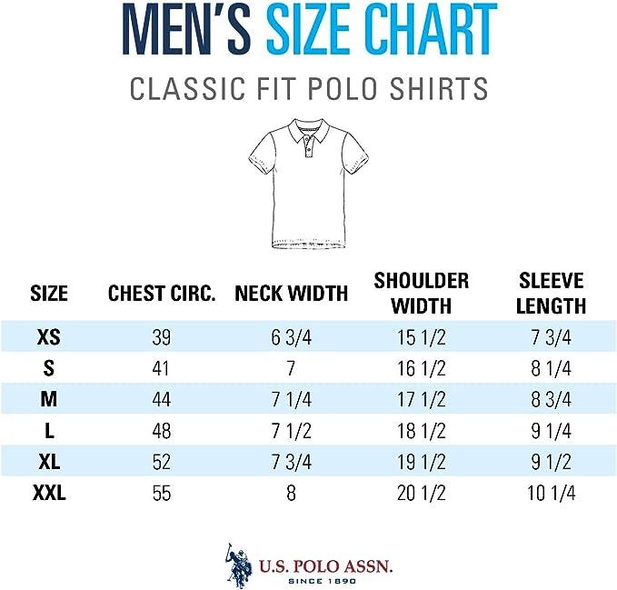 US Polo Assn. Mens Classic Small Logo Solid Pique Polo Shirt