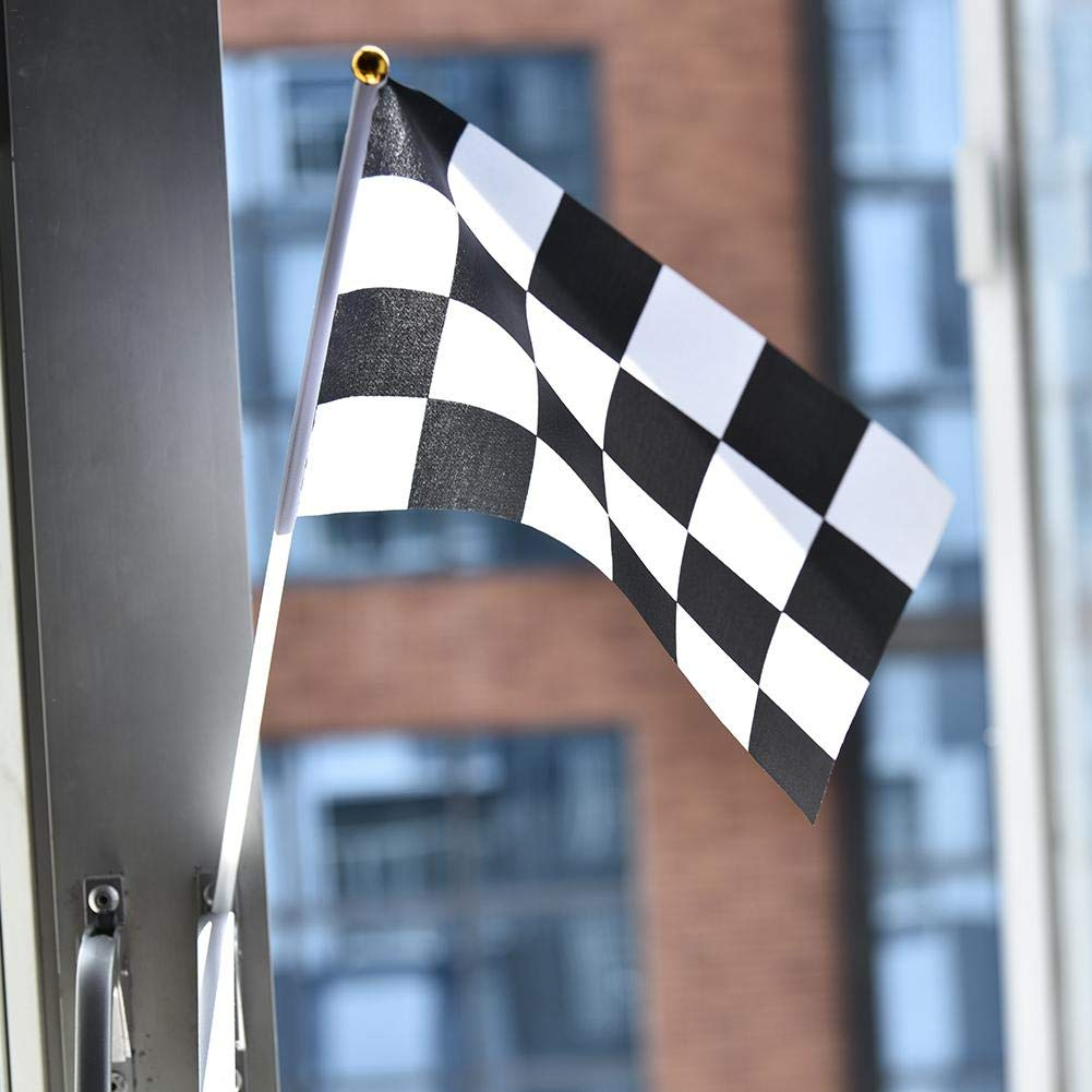 TODAYTOP 10 Unids Banderas de Cuadros Banderas de Carreras Banderas de Banderines de Bander/ín de Carreras en Blanco y Negro Fiesta de Carrera Coche de Carreras Deportes Eventos Ni/ños Cumplea/ños
