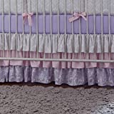 Carousel Designs Lilac and Silver Gray Damask Crib Skirt Three Tier 18-Inch Length