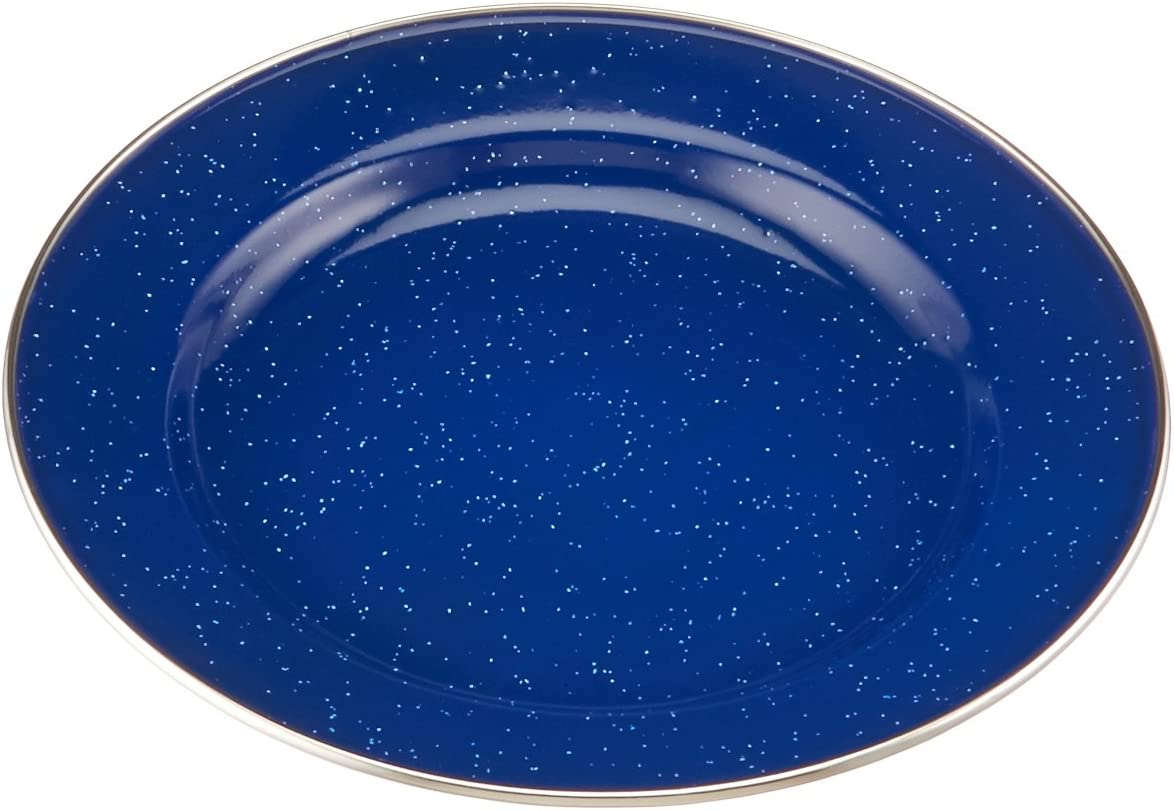 GSI Outdoors Pioneer 10 Inch Blue Enamelware Flat Plate