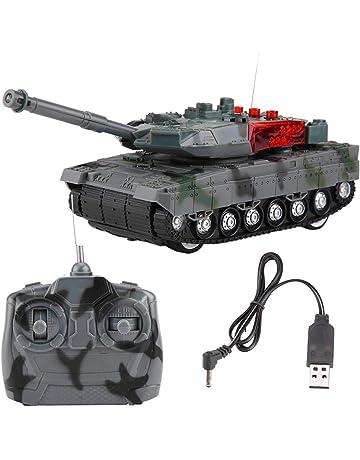 Dilwe Tanque RC, Eléctrico 4 Canales Simulación Tank Juguete Modelo Teledirigido para Niños Regalo