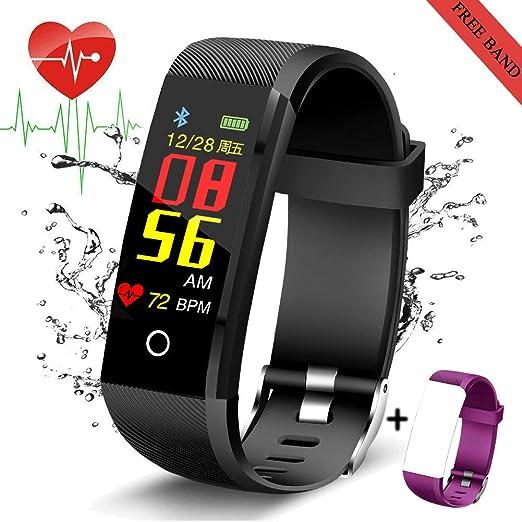 LIGE Fitness Tracker,IP67 Impermeable Rastreador de Actividad con Monitor de Ritmo cardíaco Podómetro Reloj Monitor de sueño Contador de calorias,Negro ...