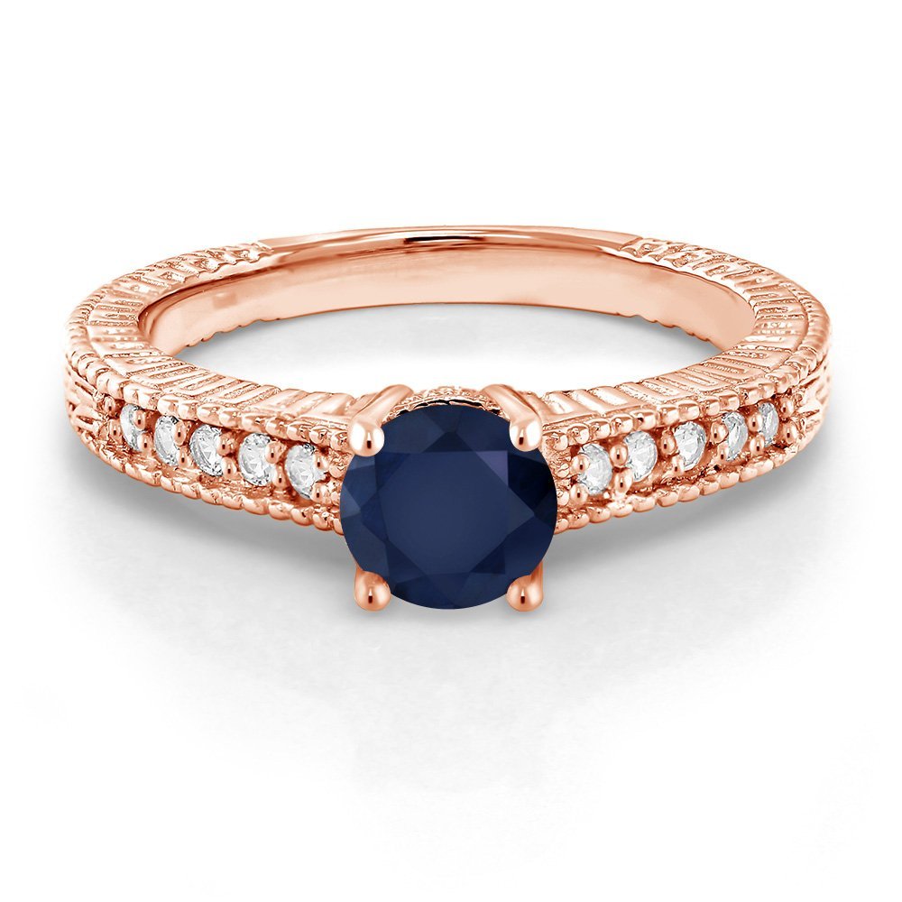 Gem Stone King 1.15 Ct Round Blue Sapphire 18K Rose Gold Plated Silver Ring Available 5,6,7,8,9