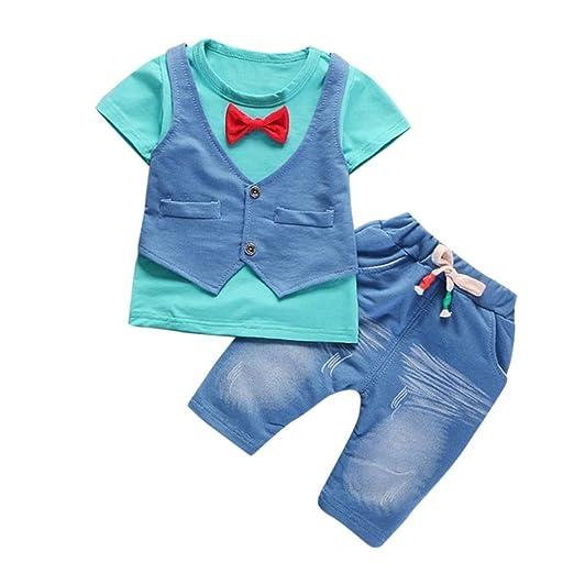 a78cde00c2c3 Amazon.com  Boy 1Set Summer Kids Baby Boys Outfits Short Sleeve T-Shirt  Pants Gentleman Clothes Set 2018  Clothing