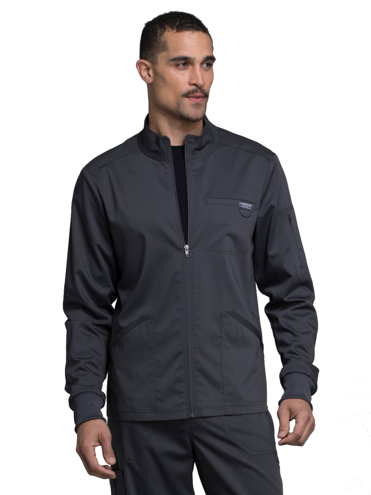 Cherokee Revolution Workwear Men's Zip Up Solid Scrub Jacket Small Pewter
