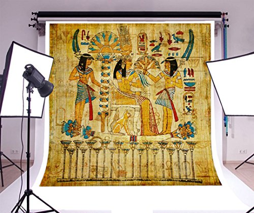 Laeacco 8x8FT Vinyl Photography Background Old Egyptian Papyrus Color Drawing Wall Figures Egyptian Mural Backdrops Adults Children Photographic Shooting Video Studio Props 2.5x2.5m