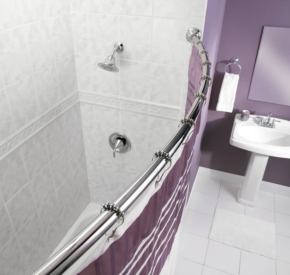 Moen CSR2165CH 5-Foot Fixed Length Curved Shower Rod, Chrome