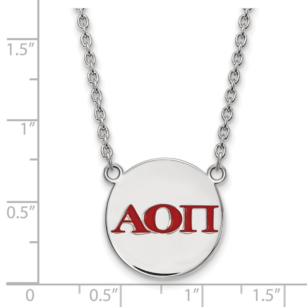 18mm Jewel Tie 925 Sterling Silver Alpha Omicron Pi Small Enl Pendant with Necklace