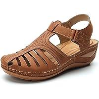حذاء مسطح مريح بحزام ويدج، حذاء مسطح من الجلد المدبوغ بتصميم عتيق، صندل بمقاس واسع