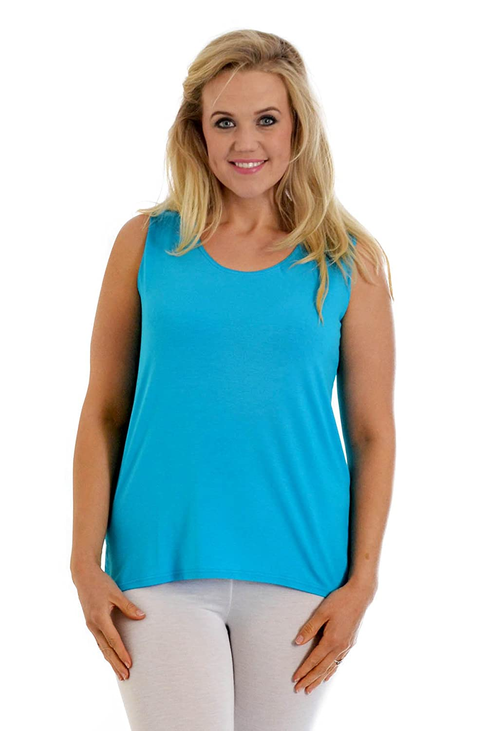 Womens Plus Size Vest Top Ladies Sleeveless Camisole Long Tunic Round Neck Quality Fabric Nouvelle Collection