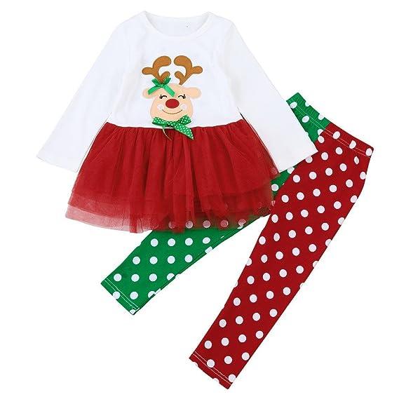 f9e6ca363 Disfraz Navidad Bebe Niña 1-6 años Reno Princesa Tutu Vestido Tops +  Pantalones con Lunar Ropa Navidad Conjunto / 2PC: Amazon.es: Ropa y  accesorios