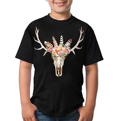 Unisex T-Shirt Casual Flower Deer Skull O-Neck Short Sleeve For Teenage - Black