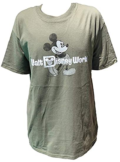 73356a7ed DisneyParks Mickey Mouse Classic Pose Walt Disney World Shirt Boys Youth  Olive Green (Medium)