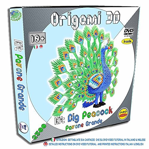 3D Origami Kit Big Peacock - 2500 Pcs. Pre-marked Cards - easy and fast folding - Equal to A4 1/32 - English and Italian printed instructions - Online Video-Tutorials That (Origami Peacock)