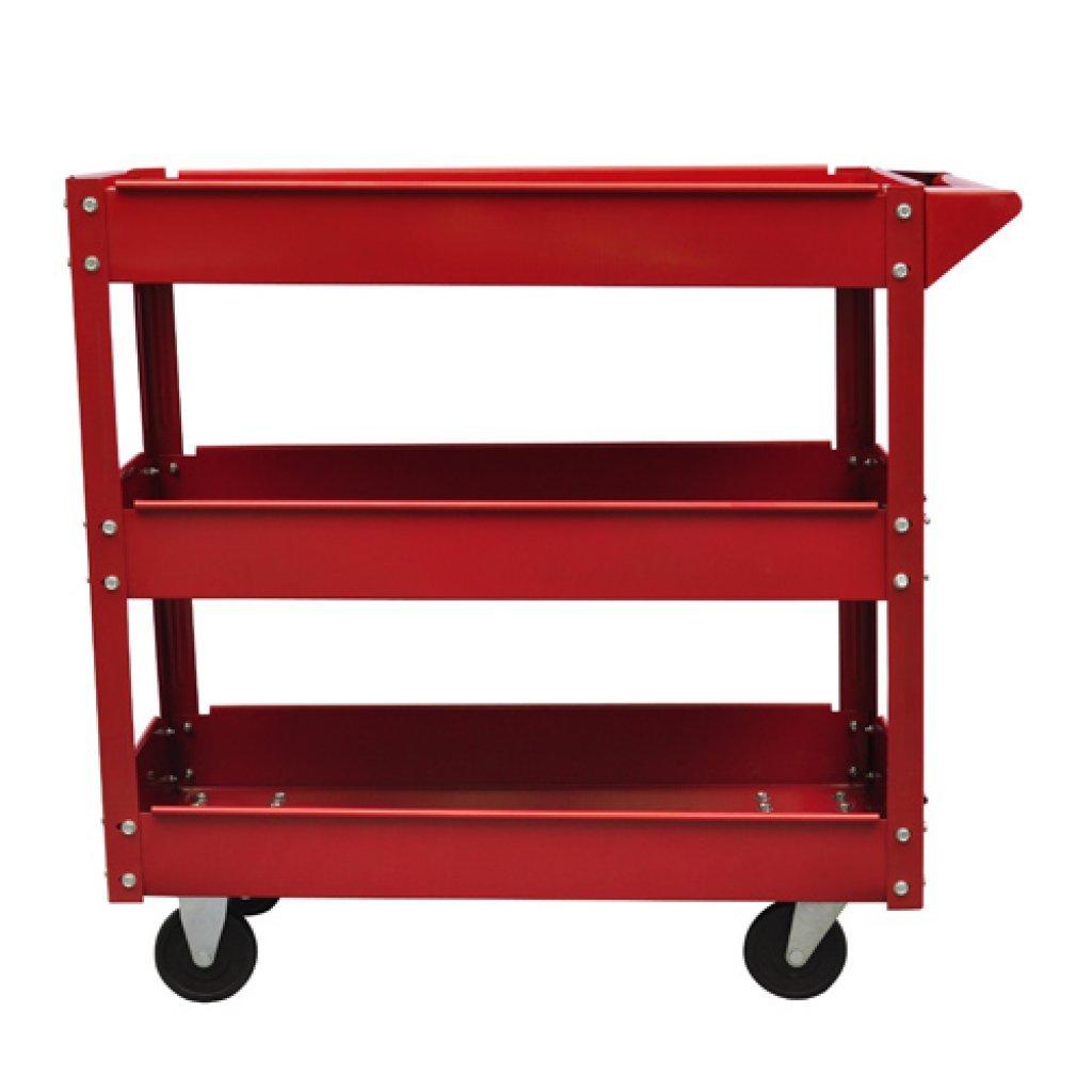Festnight 3 Tier Tool Trolley on Wheels Heavy Duty Garage Workshop DIY Tools Cart 220 lbs (Red)