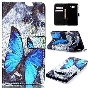 Gift_Source Galaxy G6000 Funda, Galaxy On7 Funda, De pie Cuero de la PU Folio Flip Carcasa pistolera lujo Resistente a Arañazos Funda para Samsung Galaxy On7 SM-G6000 [ Blue Butterfly ]
