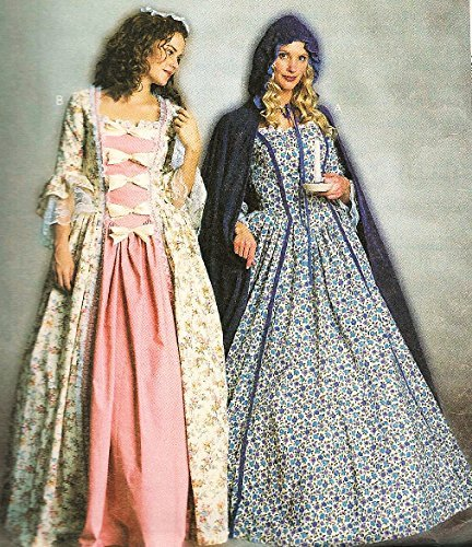 McCall's Costumes Pattern 3289 ~ Misses'/Miss Petite Colonial Gowns, Hooded Cape & Hat ~ Size (Colonial Gown Costume)