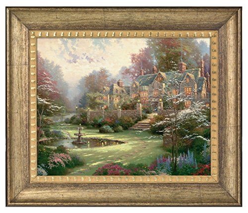 Thomas Kinkade Gardens Beyond Spring Gate 16 x 20 Brushstroke Vignette (Burnished Gold)