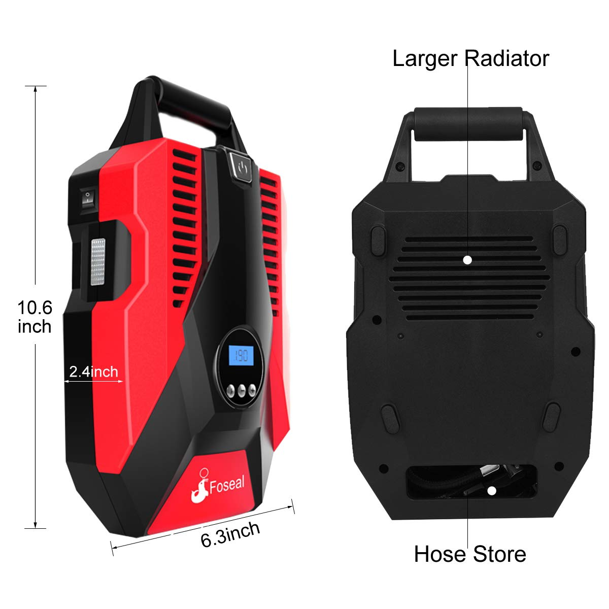 Foseal 1 Red Portable Air Compressor, 12V DC Digital Inflator 150 PSI Auto Shut-Off Easy to Use Pump with Emergency Led Light and Long Cable for Car Motorcycle Bicycle/Schrader Tires Ball by Foseal (Image #3)