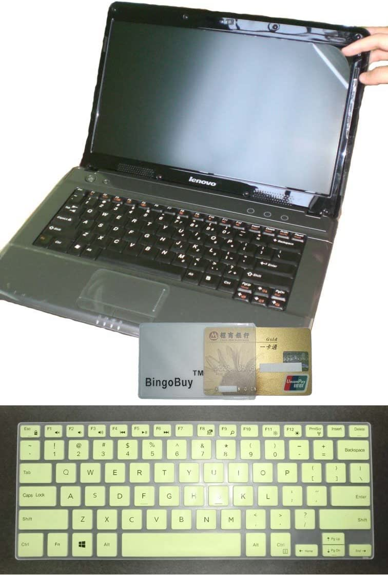 US Layout Keyboard Skin Cover + 11.6'' Anti Glare Screen Protector for Dell Inspiron 11-3162 11-3168 11-3169 11-3179 11-3180 11-3185 11-3195 i3168 i3169 i3179 i3195 with BingoBuy Card Case (Green)