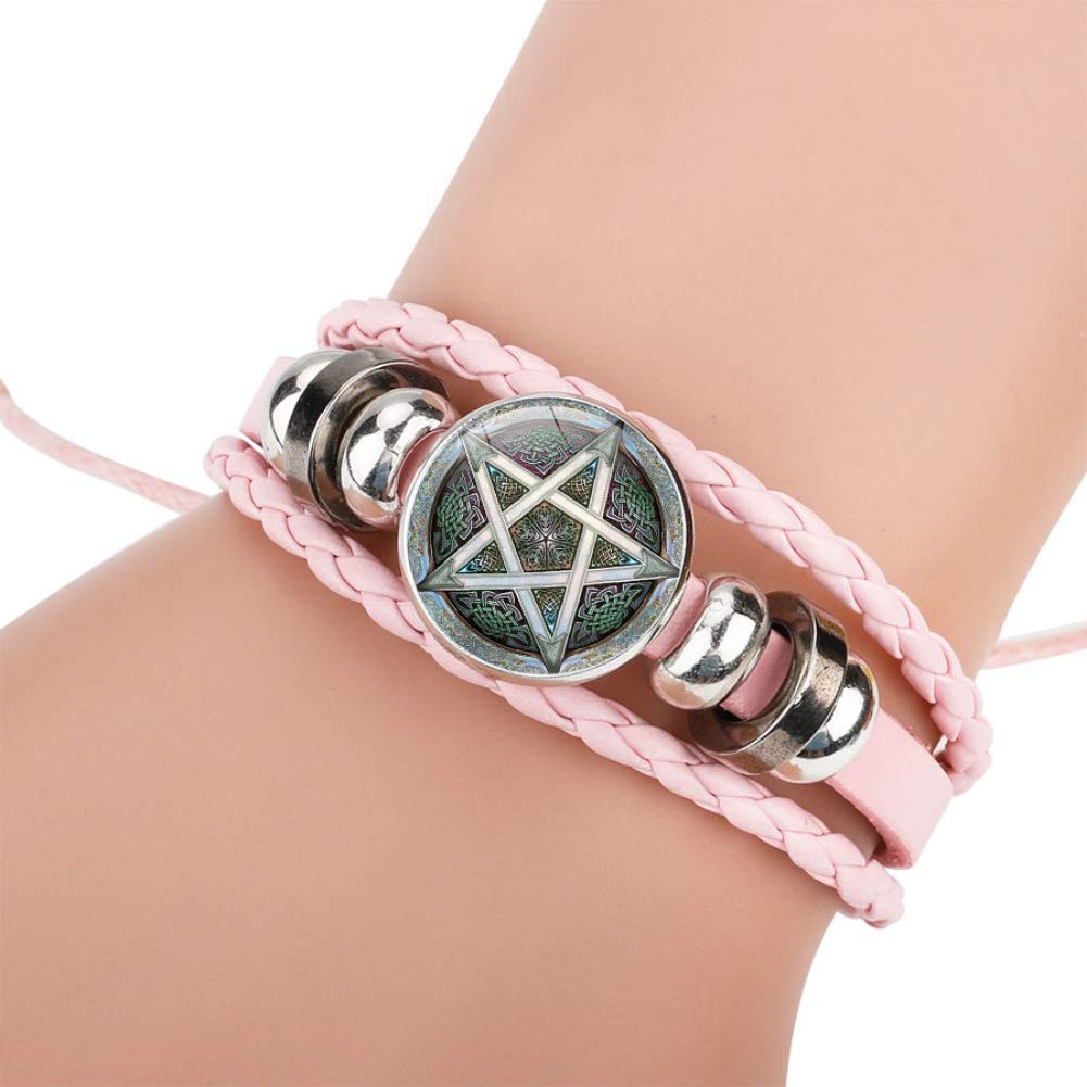 Steelbsr Celtic Star of Hieroglyphic Writing Bracelets Hemp Cords Leather Wristbands