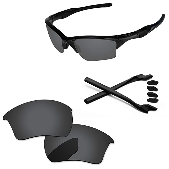 71f1954076f PapaViva Lenses Replacement   Rubber Kits for Oakley Half Jacket 2.0 XL  Black Grey