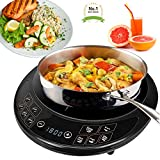 #1 Precision Portable Induction Cooktop Single Burner Cooker Counter Top Digital Display 1800 Watts - Uses 90% less Energy