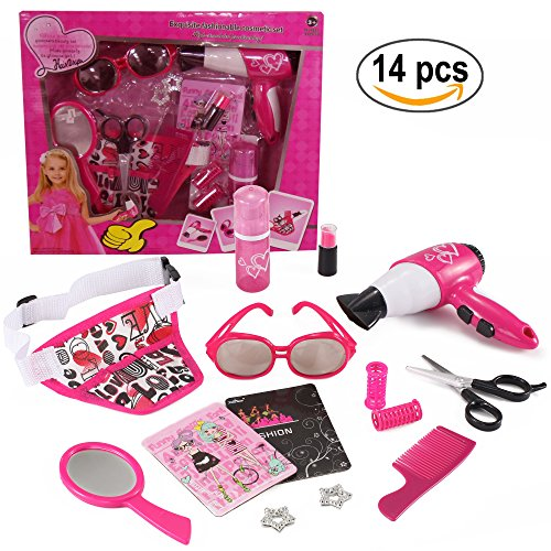 Vogue Beauty Toy Salon Pretend Play Set (14 pcs) with hair clips, straightener, toy lipstick, bottle, carrying bag and more! (Princess Hair Kit)