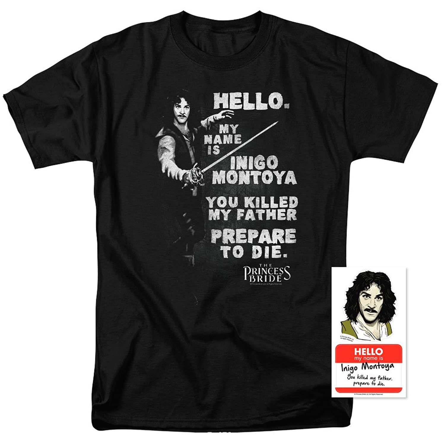 Princess Bride Movie Inigo Montoya T Shirt and Exclusive Stickers Hello My Name is