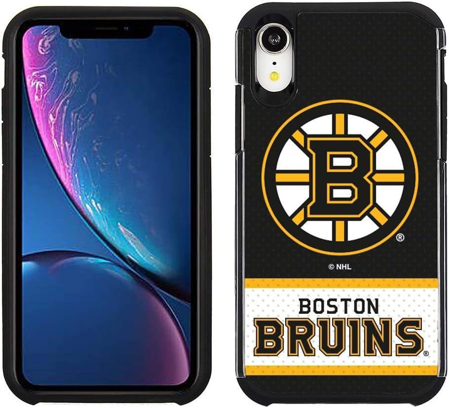 Apple iPhone XR - NHL Licensed Boston Bruins Black Jersey Textured Back Cover on Black TPU Skin