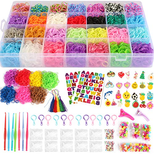 17,000+ Mega Refill Loom Set for Kids Bracelet Weaving DIY Crafting Kit with Rainbow Rubber Bands,24 Charms,175 Beads,600 Clips,12 Backpack Hooks,Organizer Case w/ Handle by STSTECH]()