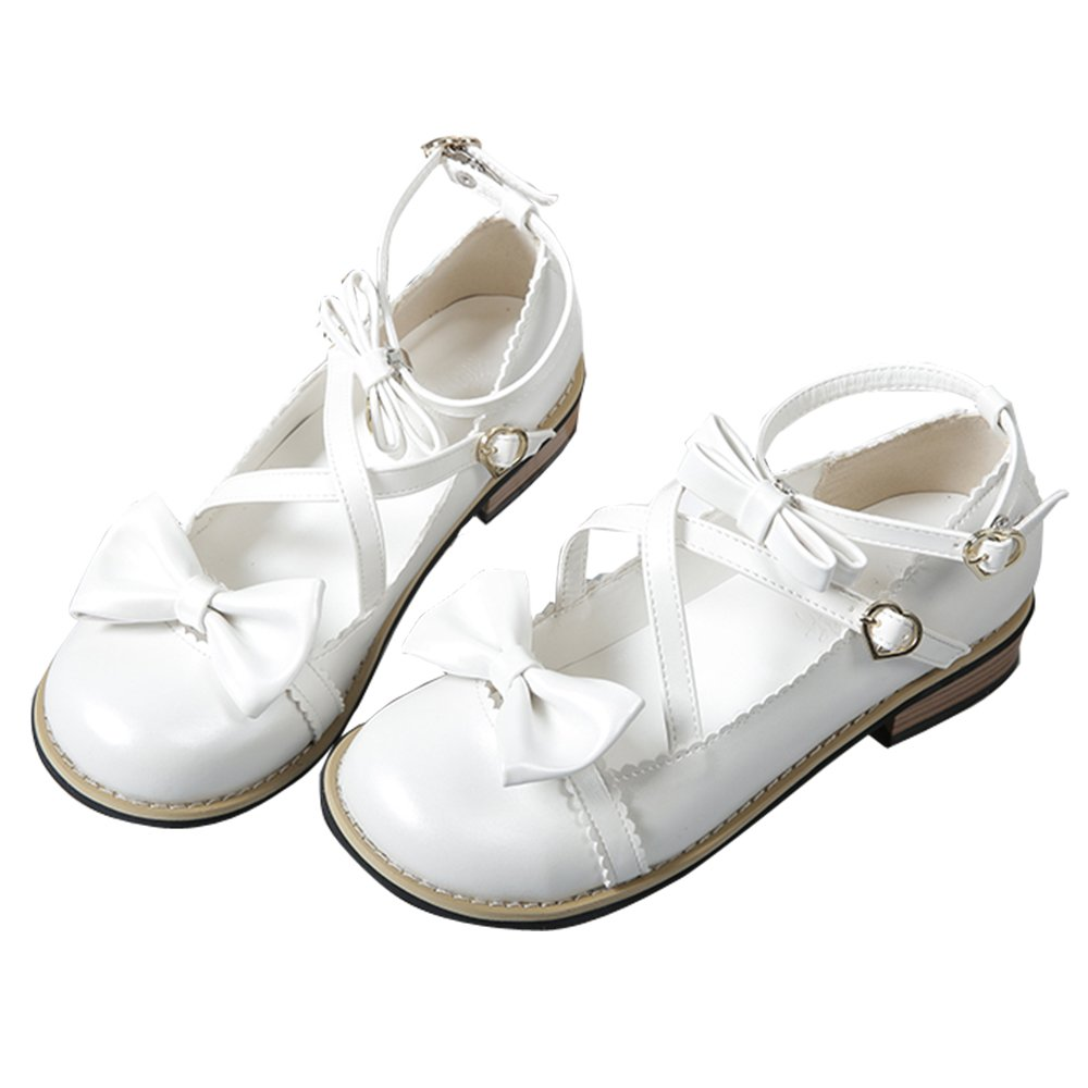 Japanese Sweet Lolita Low Chunky Heels Round Toe Bowtie Strappy Tea Party Shoes B07BTZGWKL 8.5 M US|White