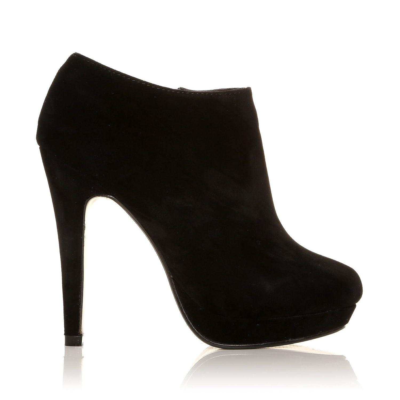 H20 , Bottines à talons aiguilles , Plateforme , Noir , Effet daim  Amazon.fr Chaussures et Sacs