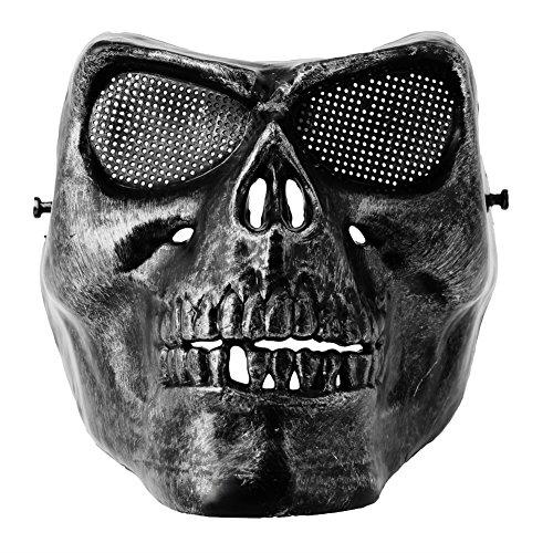 Gigory Halloween Protective Skull Skeleton Mask, Terror Full Face Mask (Black)