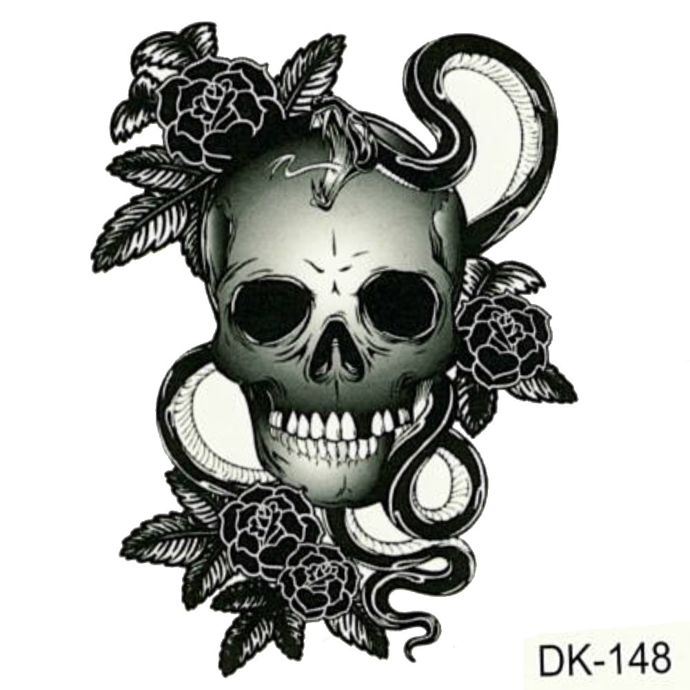 JUSTFOX - Temporäres Tattoo Totenkopf Schlange: Amazon.de: Beauty
