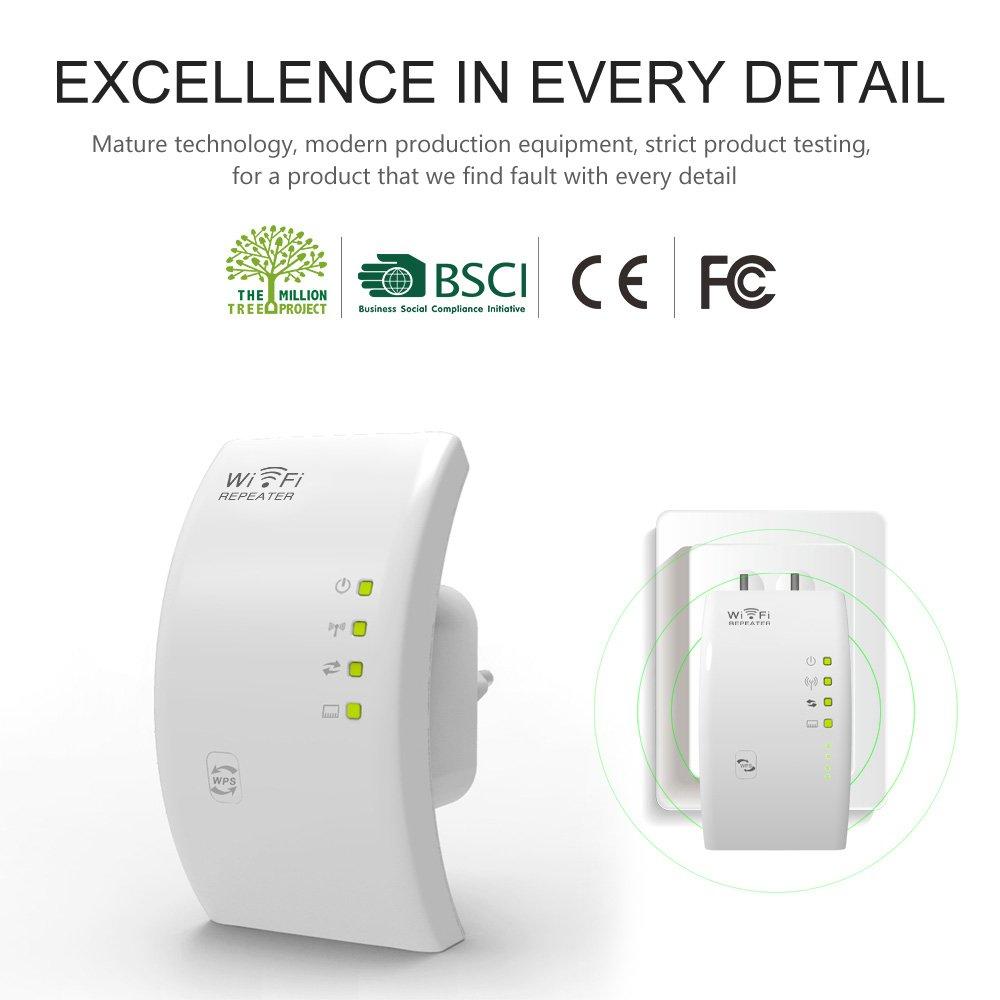 Repetidor Wifi MECO Wifi Repetidor Amplificador Señal Extensor de Red Wifi, 300 Mbps, 2.4GHz, con Botón WPS / Repetidor / Modo de Punto de Acceso, ...