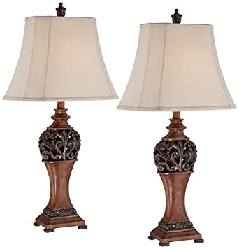 Exeter 30u0026quot; High Wood Finish Table Lamps ...