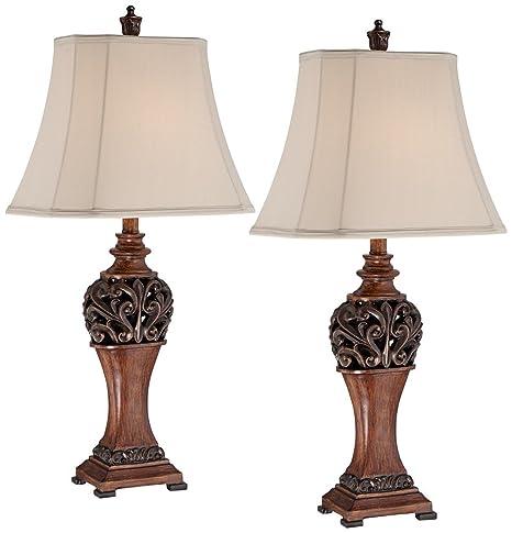 Bon Exeter 30u0026quot; High Wood Finish Table Lamps   Set Of 2