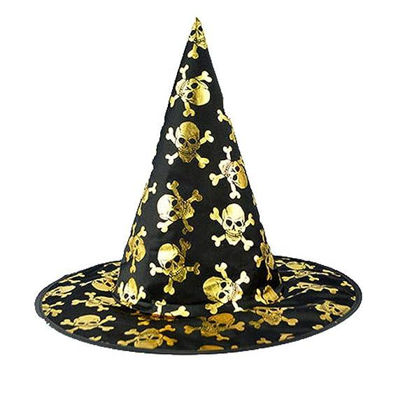 DOGZI Sombrero de Calavera de Bruja de Halloween Sombrero de Bruja Negro  para Mujer Adulto para Gorro Accesorio de Disfraces de Halloween   Amazon.es  Ropa y ... 3436d518e80