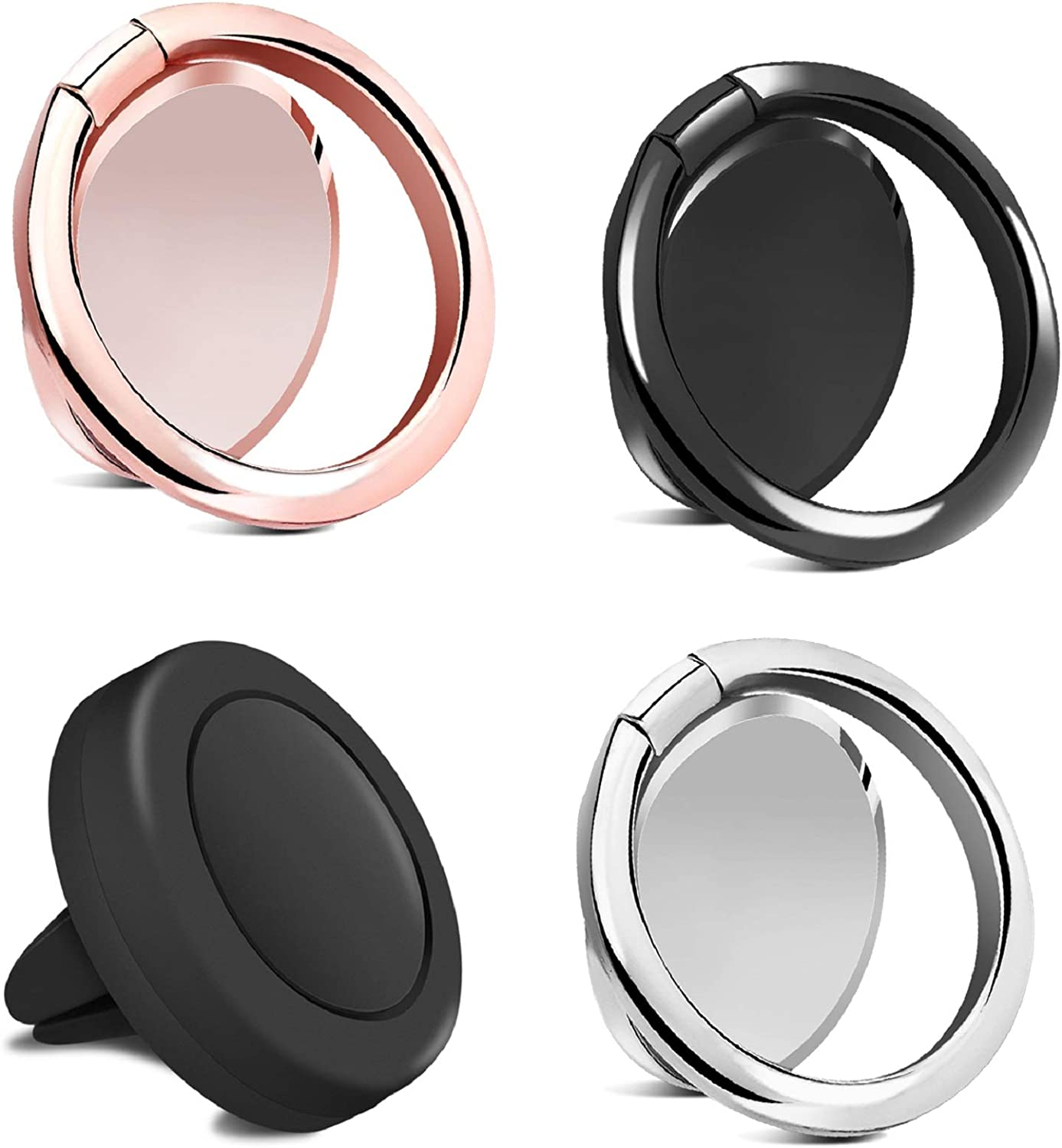 Votono 3 Pack Phone Ring Kickstand Phone Ring Holder Finger Kickstand for Magnetic Car Mount 360/° Rotation Silver