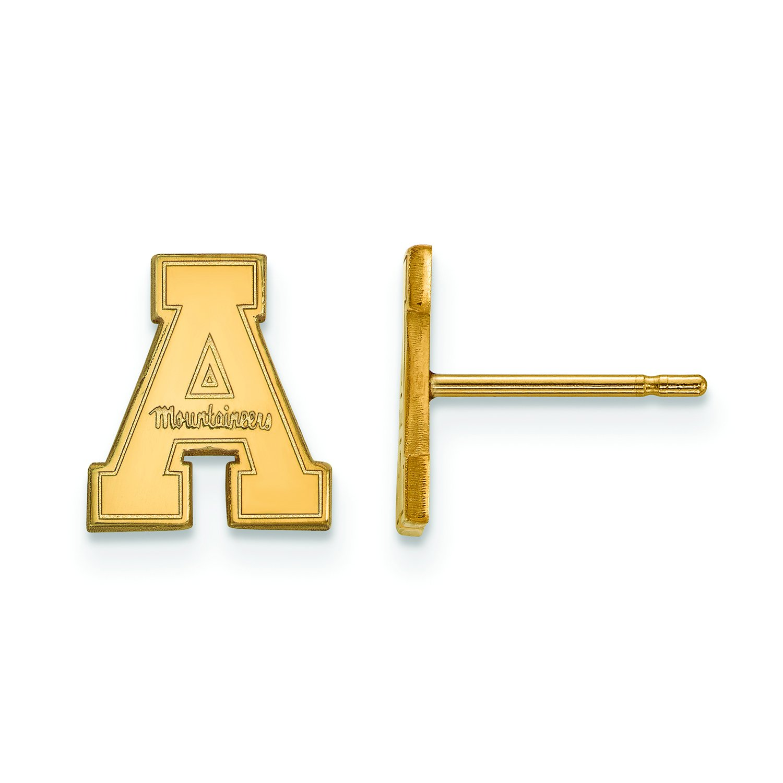 Appalachian State Extra Small ( 3 / 8インチ)ポストイヤリング( 10 Kイエローゴールド)   B01JAPPGF4